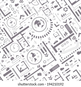 Abstract architectural background. Vector seamless pattern with architectural plan and info graphic details
