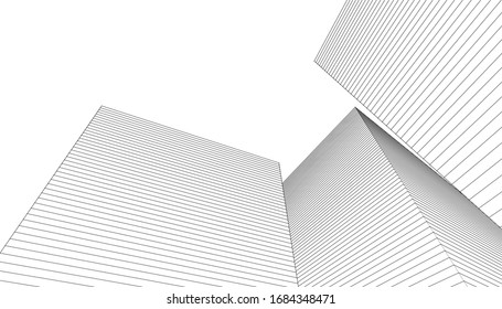 abstract architecture 3d illustration sketch