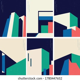 Abstract architecture background with geometric pattern with modern building cover set background