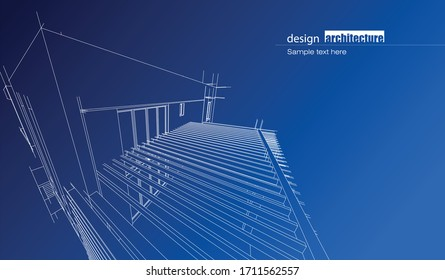 Abstract architecture background with modern buildings and landmarks design