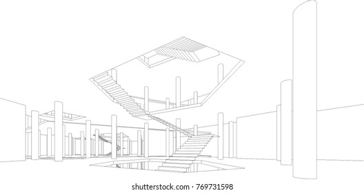abstract architecture building construction, vector illustration