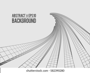 Abstract architecture building. Futuristic background. Trendy wireframe cybernetic construction.