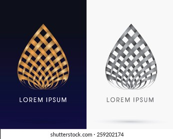 Abstract architecture, Building, lotus, designed using wicker gold and black line,logo, symbol, icon, graphic, vector.