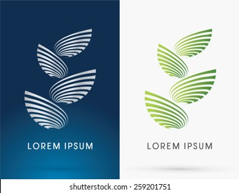 Abstract Architecture, Building ,Tower, designed using green line like a tree or leaf shape ,logo, symbol, icon, graphic, vector.