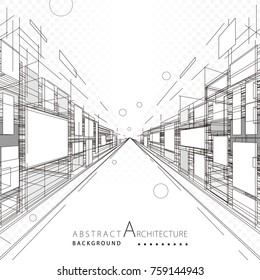 Abstract architecture construction perspective designing black and white background.