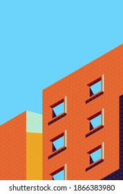 Abstract architecture cover in minimal style with retro colour. Vector illustration of building with shadow.