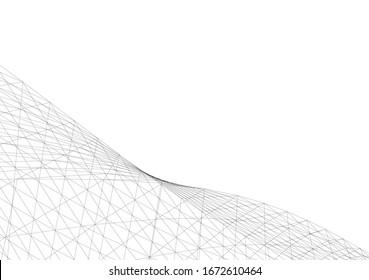 Abstract architecture. Mesh 3d background