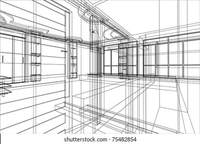 abstract architecture of office interior