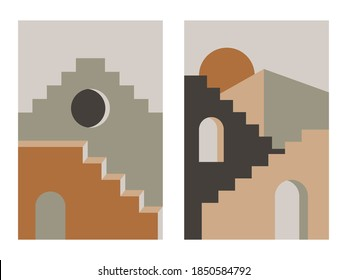Abstract architecture stair posters. Mid century modern boho art print, wall decor social media stories contemporary style. Vector illustration.