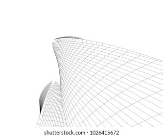 abstract architecture vector 3d illustration