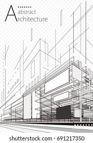 Abstract architecture wire-frame of building background.