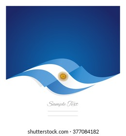 Abstract Argentinean flag ribbon blue background