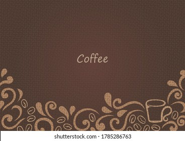 Abstract aroma smoke with coffee bean frame vector for decoration on coffee bar and bistro cafe theme.
