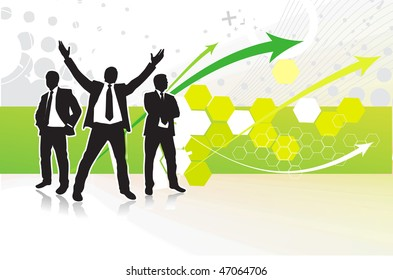 Abstract arrow background with standing success businessman silhouette. Vector illustration.