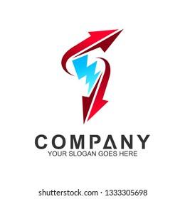 abstract arrow letter F vector logo design