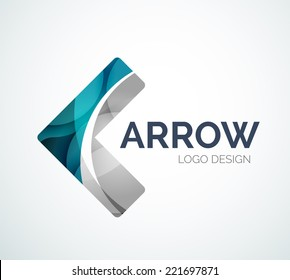 Abstract arrow logo design made of color pieces - various geometric shapes