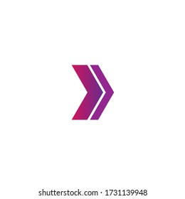 Abstract arrow logo with gradient purple color in white background