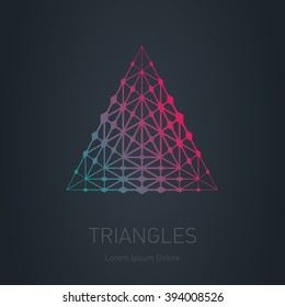 Abstract Up arrow logotype. Modern stylish logo with gradient. Lowpoly mesh. Design element with triangles and rhombus. Vector logotype template. Grid structure.