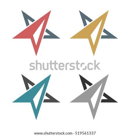 abstract arrow star compass rose logo のベクター画像素材