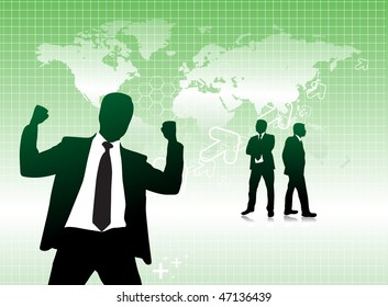 Abstract arrow world map background with standing success businessman silhouette. Vector illustration. No mesh in this Vector