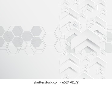 Abstract arrows background with paper art style.For business template.Vector illustration.