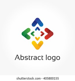 Abstract arrows, compass logo template, direction icon. Design element for brand design, company branding, corporate style, identity, logotype. Colorful vector illustration, modern gradient style