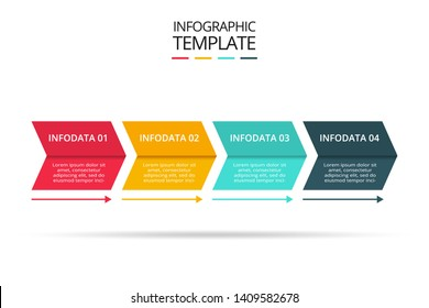 Abstract arrows of graph, diagram with 4 steps, options, parts or processes. Vector business template for presentation.