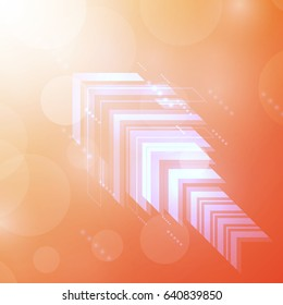 Abstract Arrows Orange technology communicate background, vector illustration