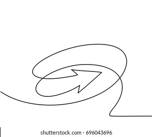 Abstract arrows sign. Continuous line drawing icon. Vector illustration