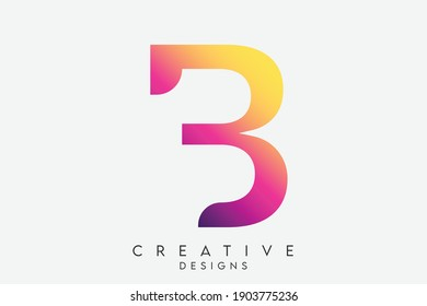 Abstract Art Alphabet Letter B Logo. B Colorful Minimal Letter Icon Design. Abstract Elegant Curve Shaped letter B with Purple, Pink and Yellow Gradient. Vector Illustration.
