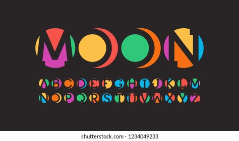 Abstract art alphabet. Negative space letters design. Pieces of circles. Colorful font. Vector typeset on black background.
