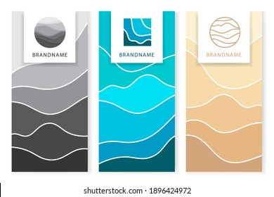 Abstract art background blue aqua sea waves, ocean water and beige desert sand on beach with barchan and dunes.Template texture wave lines pattern.Frames for text with logo.Vector cover,textile print.