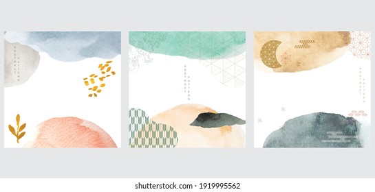 Abstract art background with brush stroke element vector. Watercolor texture with geometric  pattern in vintage style.