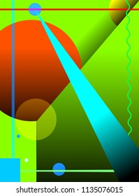 abstract art background with colored shapes and lines