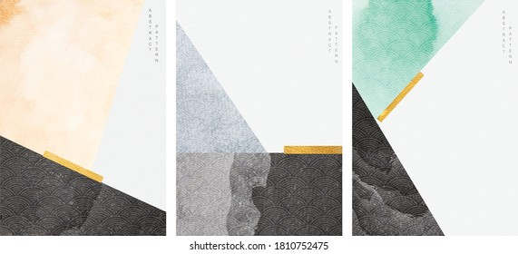 Abstract art background with geometric element vector. Watercolor texture template in vintage style.