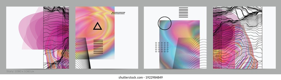Abstract art background with geometric sci-fi elements. High-tech cyberpunk technology of virtual reality. Computer generated science models with hologram. Modern Gothic social media post template.
