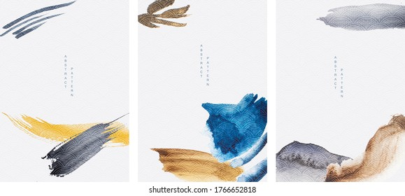 Abstract art background with Japanese wave pattern vector. Brush stroke element with contemporary art template.