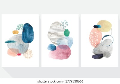 Abstract art background with Japanese wave pattern vector. Watercolor painting brush texture decoration with art acrylic poster design.