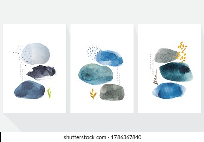 Abstract art background with Japanese wave pattern vector. Watercolor painting brush texture decoration  in Asian style. Stone and rock hand painted elements contemporary art.