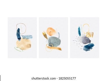 Abstract art background with Japanese wave pattern vector. Colorful brush stroke element with contemporary art template. Watercolor texture elements.