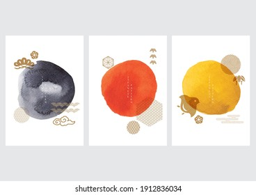 Abstract art background with traditional Japanese icon and pattern vector. Watercolor texture in Chinese style. Circle object banner illustration.