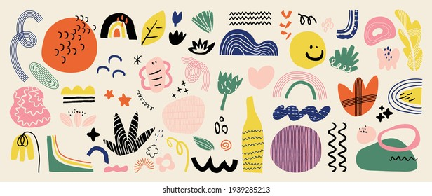 Abstract art background vector. Creative Hand drawn various shapes and doodle object elements for kids and school cover, abstract wall art for home decor,earth tone wallpaper,prints and pattern design - Shutterstock ID 1939285213