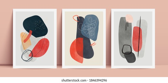 Abstract art background with watercolor elements. Contemporary wall decor. Vector illustration.