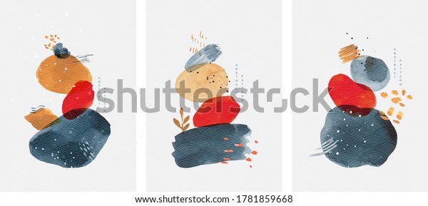 Abstract art background with watercolor stain elements vector. ฺBrush stroke texture decoration with art acrylic poster design. Contemporary art wall decoration.