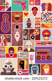 Abstract art collage. Vector illustration.