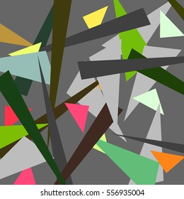 Abstract art composition with random colorful triangles