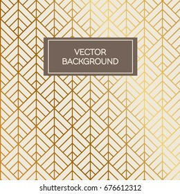 Abstract art deco design pattern background with golden lines