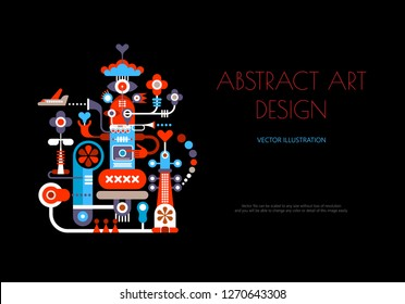 Abstract art design isolated on a black background. Vector poster design with abstract decorative composition and place for text.