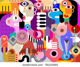 Abstract art flat style vector illustration of Four beautiful women. Two couples.