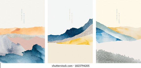 Abstract art with geometric pattern vector. Mountain landscape design with watercolor texture. Natural background with Japanese wave elements.